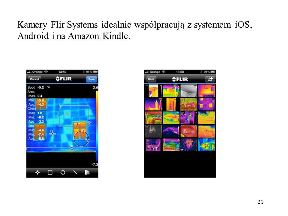 21 Kamery Flir Systems idealnie współpracują z systemem iOS, Android i na Amazon Kindle.