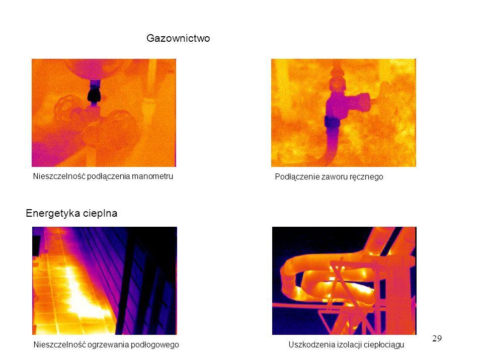 29 Gazownictwo Nieszczelność podłączenia manometru Podłączenie zaworu ręcznego Energetyka cieplna Nieszczelność ogrzewania podłogowegoUszkodzenia izol