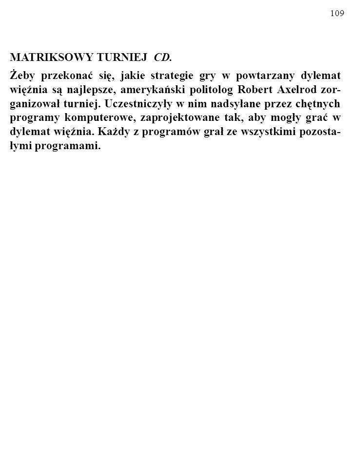 108 MATRIKSOWY TURNIEJ Grasz kolejne partie gry w dylemat więźnia.