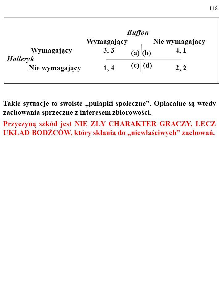 """117 Buffon Wymagający Nie wymagający Wymagający 3, 3 4, 1 Holleryk Nie wymagający 1, 4 2, 2 (a)(b) (c) (d) Takie sytuacje to swoiste """"pułapki społeczne ."""