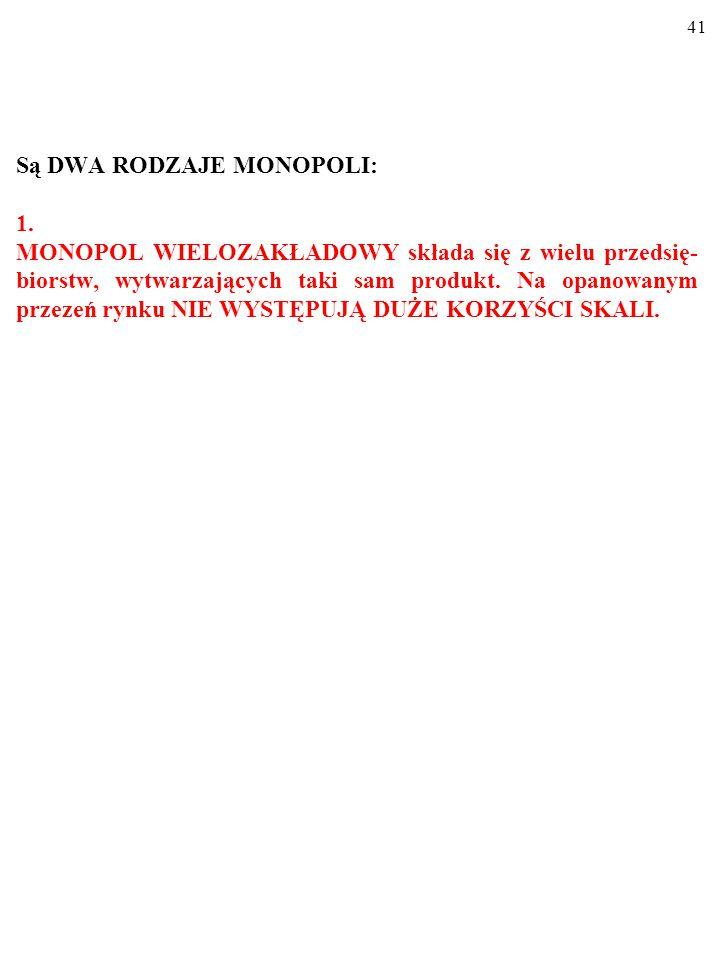 40 MONOPOL (czysty) jest to rynek, na którym działa NIEZA- GROŻONY INWAZJĄ INNYCH PRZEDSIĘBIORSTW JEDY- NY DOSTAWCA PRODUKTU w gałęzi.