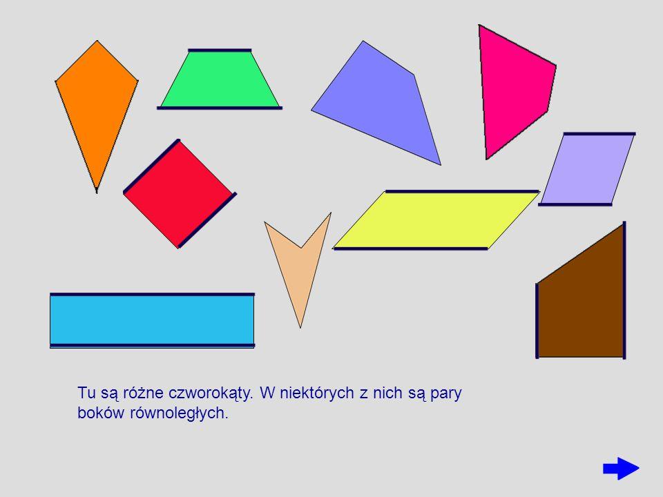 Tu są różne czworokąty. W niektórych z nich są pary boków równoległych.