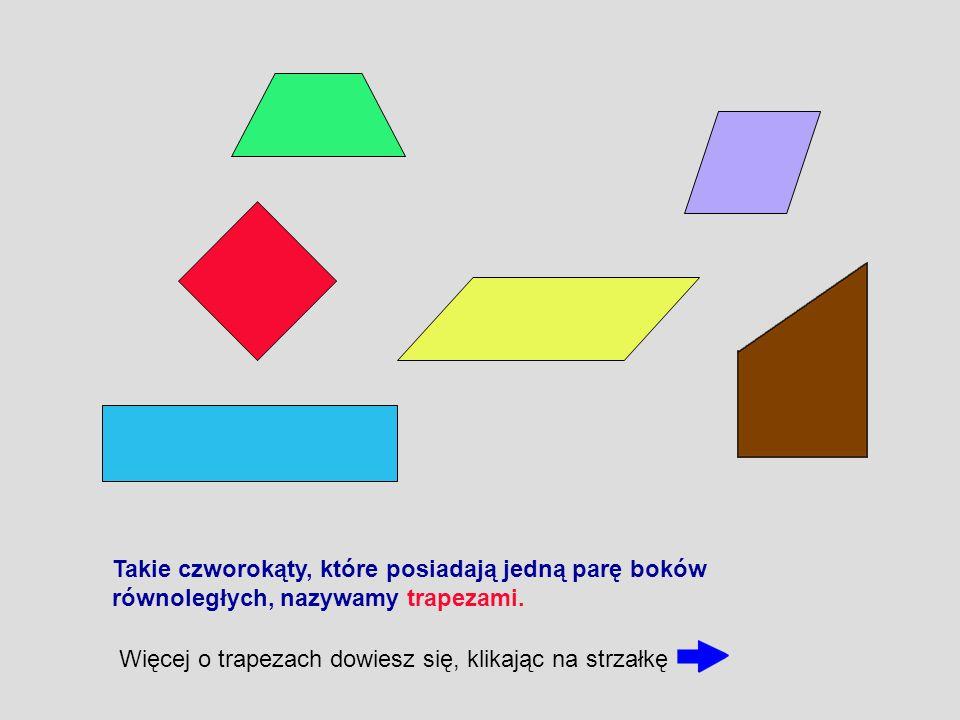 Takie czworokąty, które posiadają jedną parę boków równoległych, nazywamy trapezami. Więcej o trapezach dowiesz się, klikając na strzałkę
