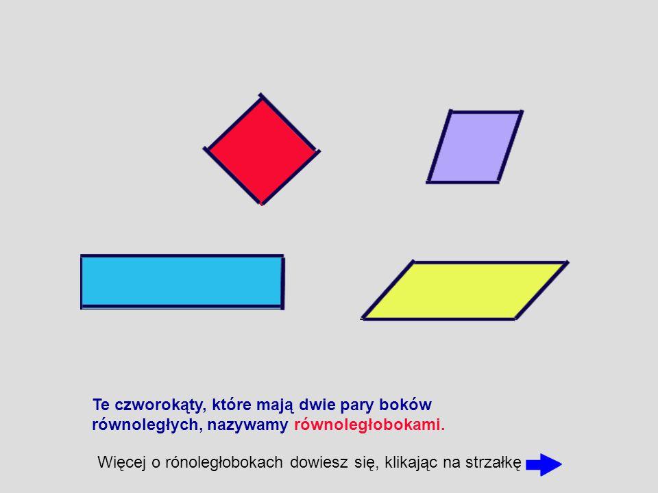 Te czworokąty, które mają dwie pary boków równoległych, nazywamy równoległobokami. Więcej o rónoległobokach dowiesz się, klikając na strzałkę