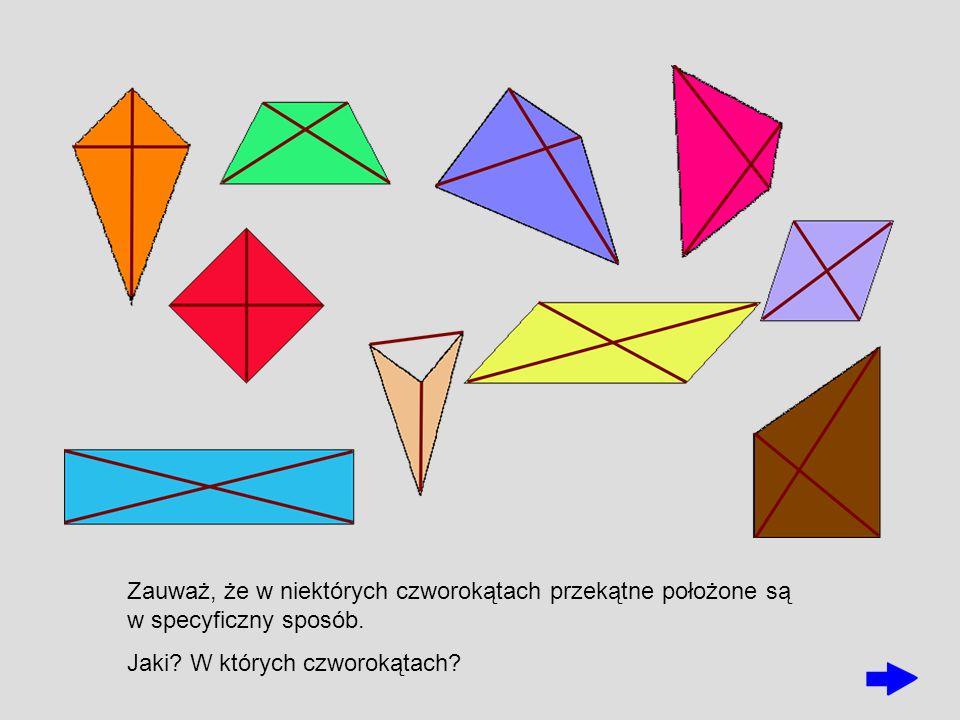 Zauważ, że w niektórych czworokątach przekątne położone są w specyficzny sposób. Jaki? W których czworokątach?