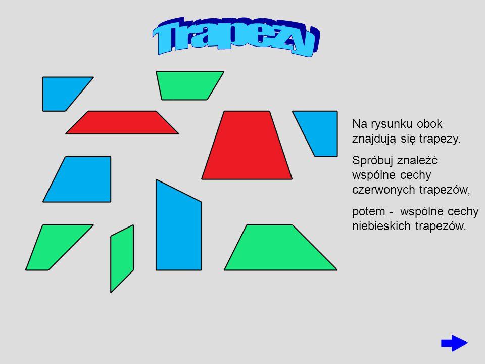 Na rysunku obok znajdują się trapezy. Spróbuj znaleźć wspólne cechy czerwonych trapezów, potem - wspólne cechy niebieskich trapezów.