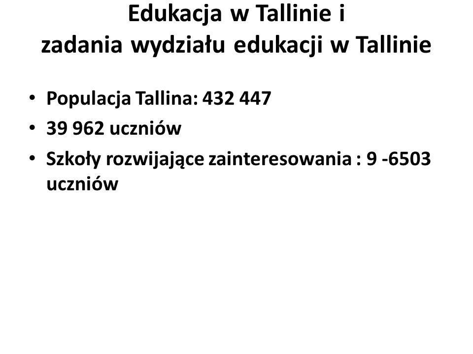 Edukacja w Tallinie i zadania wydziału edukacji w Tallinie Populacja Tallina: 432 447 39 962 uczniów Szkoły rozwijające zainteresowania : 9 -6503 uczniów