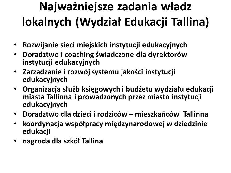 Najważniejsze zadania władz lokalnych (Wydział Edukacji Tallina) Rozwijanie sieci miejskich instytucji edukacyjnych Doradztwo i coaching świadczone dla dyrektorów instytucji edukacyjnych Zarzadzanie i rozwój systemu jakości instytucji edukacyjnych Organizacja służb księgowych i budżetu wydziału edukacji miasta Tallinna i prowadzonych przez miasto instytucji edukacyjnych Doradztwo dla dzieci i rodziców – mieszkańców Tallinna koordynacja współpracy międzynarodowej w dziedzinie edukacji nagroda dla szkół Tallina