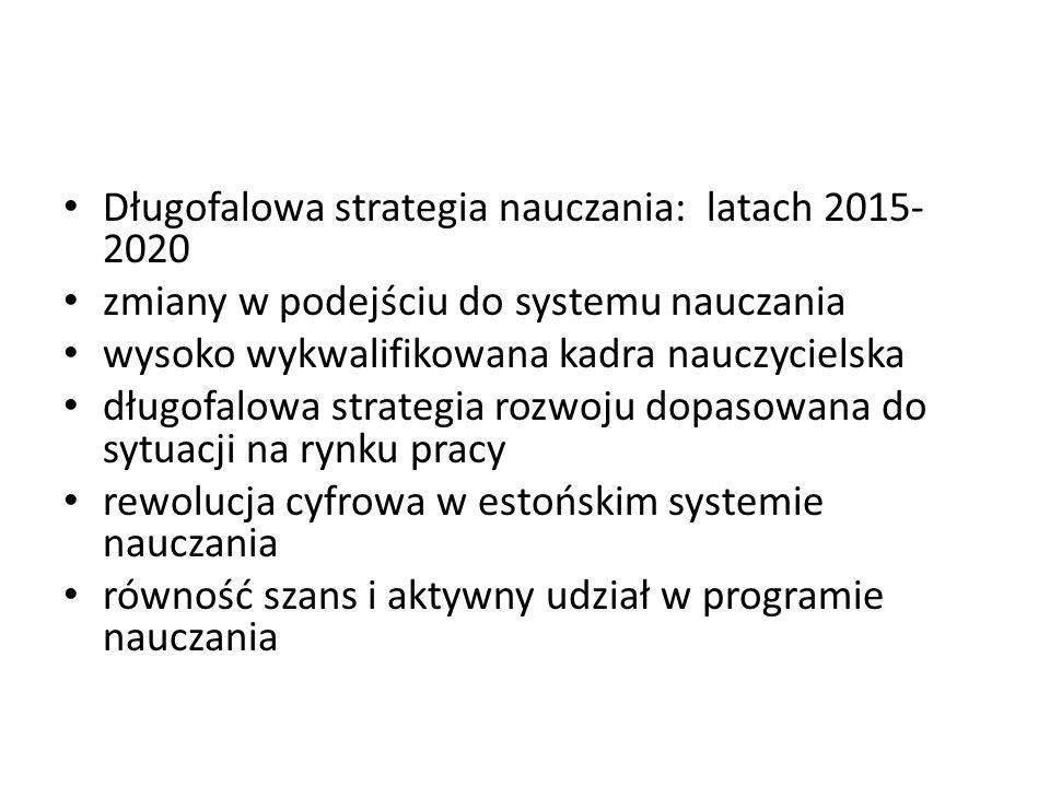 Długofalowa strategia nauczania: latach 2015- 2020 zmiany w podejściu do systemu nauczania wysoko wykwalifikowana kadra nauczycielska długofalowa strategia rozwoju dopasowana do sytuacji na rynku pracy rewolucja cyfrowa w estońskim systemie nauczania równość szans i aktywny udział w programie nauczania