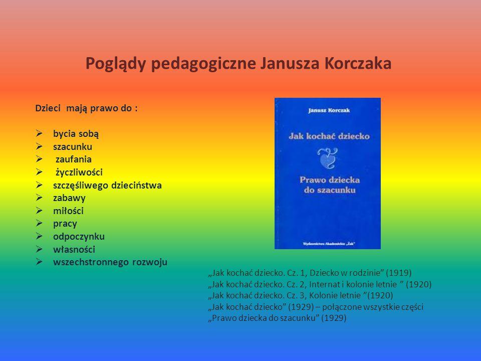 """Poglądy pedagogiczne Janusza Korczaka Dzieci mają prawo do :  bycia sobą  szacunku  zaufania  życzliwości  szczęśliwego dzieciństwa  zabawy  miłości  pracy  odpoczynku  własności  wszechstronnego rozwoju """" Jak kochać dziecko."""