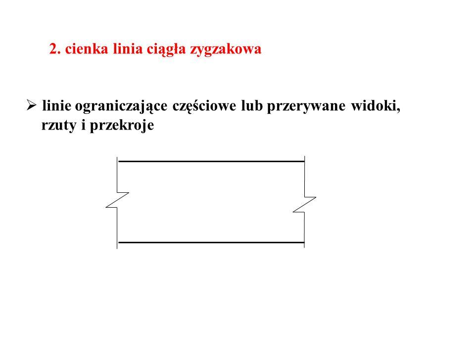 2. cienka linia ciągła zygzakowa  linie ograniczające częściowe lub przerywane widoki, rzuty i przekroje
