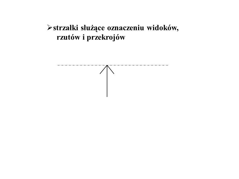  strzałki służące oznaczeniu widoków, rzutów i przekrojów