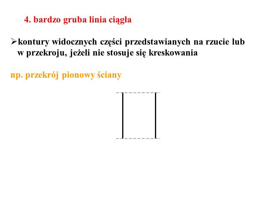 4. bardzo gruba linia ciągła  kontury widocznych części przedstawianych na rzucie lub w przekroju, jeżeli nie stosuje się kreskowania np. przekrój pi