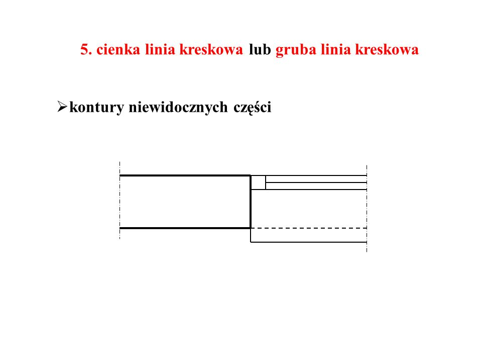 5. cienka linia kreskowa lub gruba linia kreskowa  kontury niewidocznych części