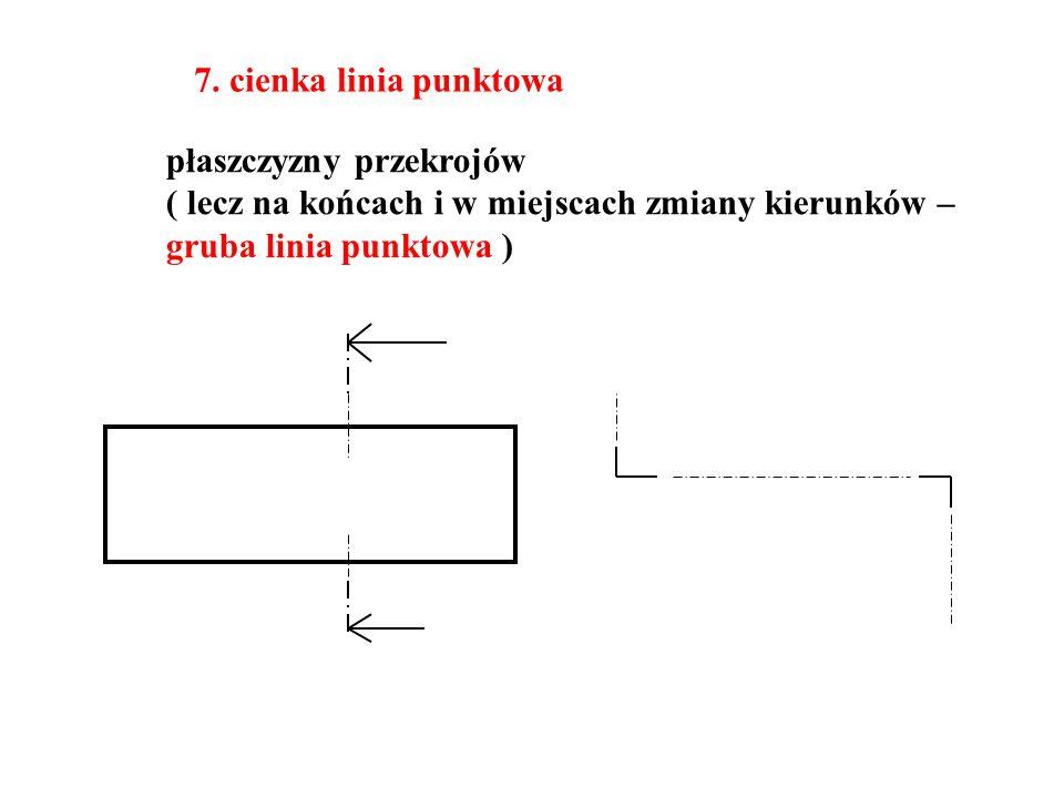7. cienka linia punktowa płaszczyzny przekrojów ( lecz na końcach i w miejscach zmiany kierunków – gruba linia punktowa )