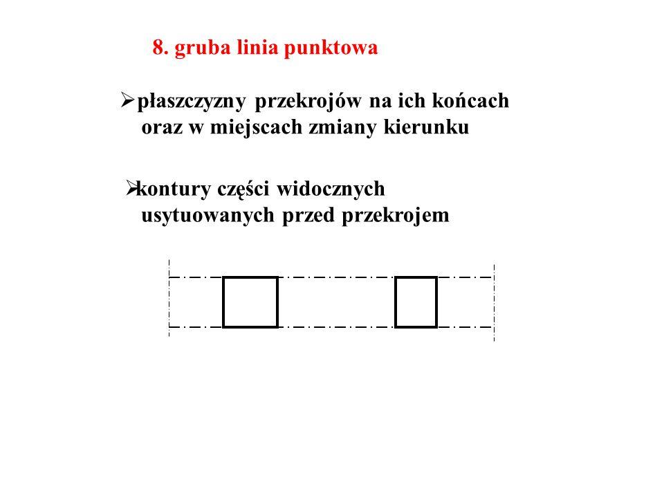 8. gruba linia punktowa  płaszczyzny przekrojów na ich końcach oraz w miejscach zmiany kierunku  kontury części widocznych usytuowanych przed przekr