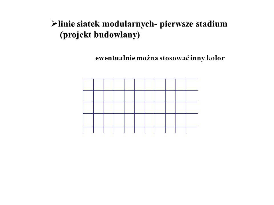  linie siatek modularnych- pierwsze stadium (projekt budowlany) ewentualnie można stosować inny kolor