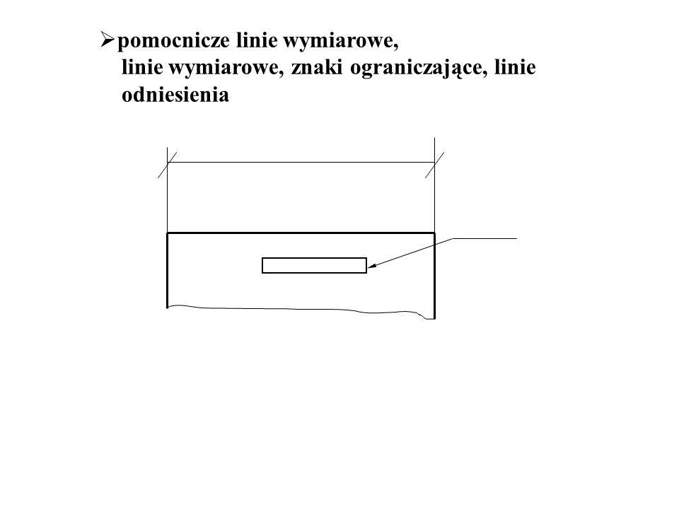  pomocnicze linie wymiarowe, linie wymiarowe, znaki ograniczające, linie odniesienia