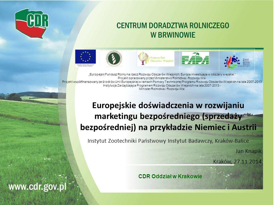 CDR Oddział w Krakowie Europejskie doświadczenia w rozwijaniu marketingu bezpośredniego (sprzedaży bezpośredniej) na przykładzie Niemiec i Austrii Ins