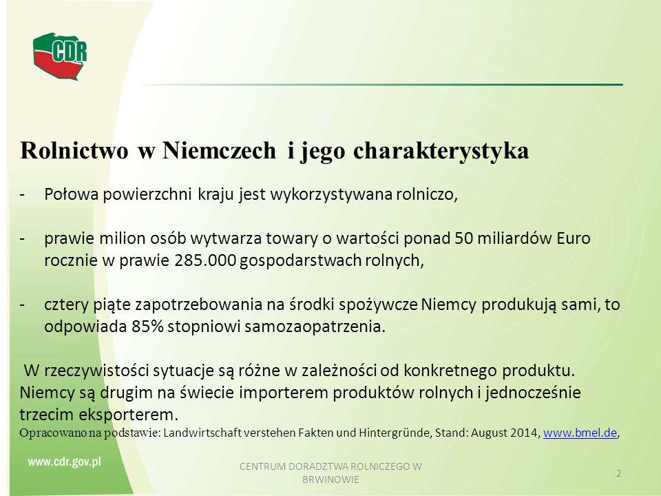 CENTRUM DORADZTWA ROLNICZEGO W BRWINOWIE 2 Rolnictwo w Niemczech i jego charakterystyka -Połowa powierzchni kraju jest wykorzystywana rolniczo, -prawi