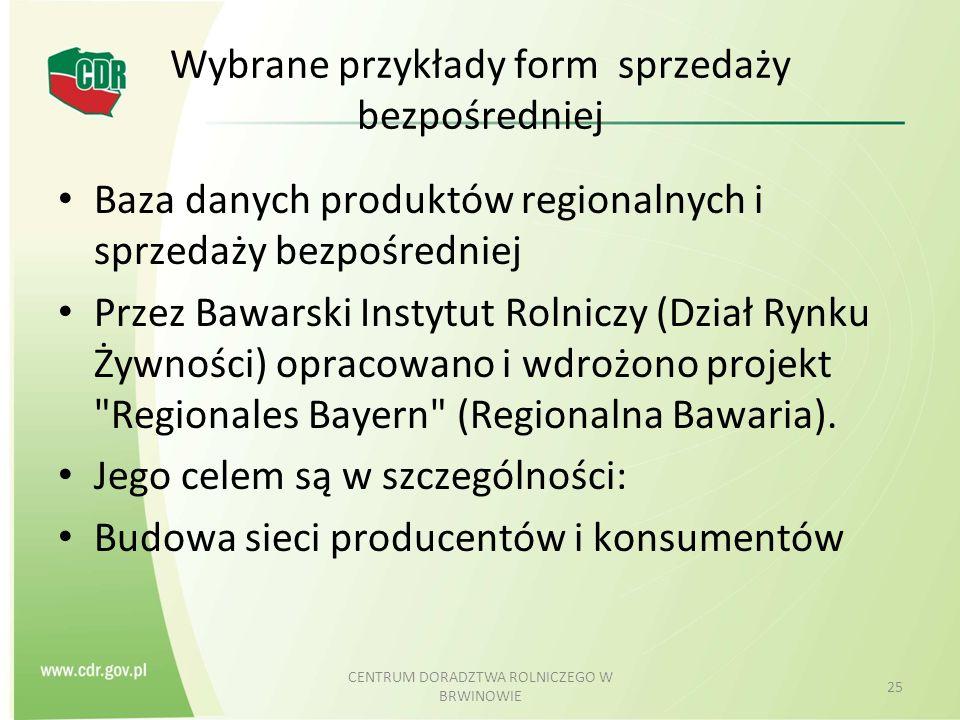 Wybrane przykłady form sprzedaży bezpośredniej Baza danych produktów regionalnych i sprzedaży bezpośredniej Przez Bawarski Instytut Rolniczy (Dział Ry