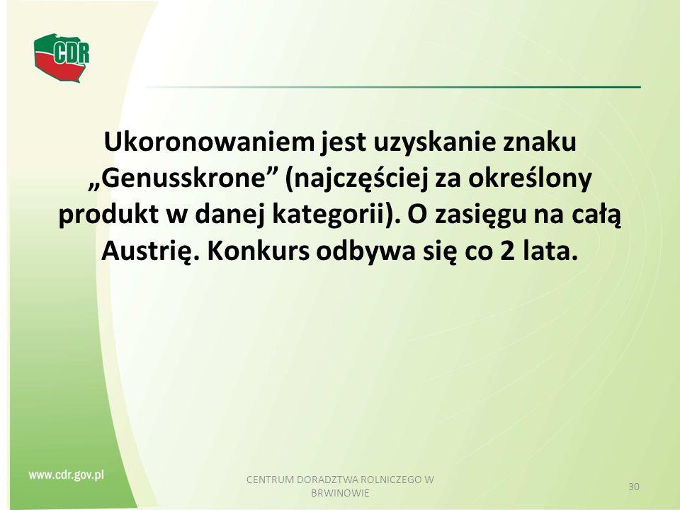 """Ukoronowaniem jest uzyskanie znaku """"Genusskrone"""" (najczęściej za określony produkt w danej kategorii). O zasięgu na całą Austrię. Konkurs odbywa się c"""