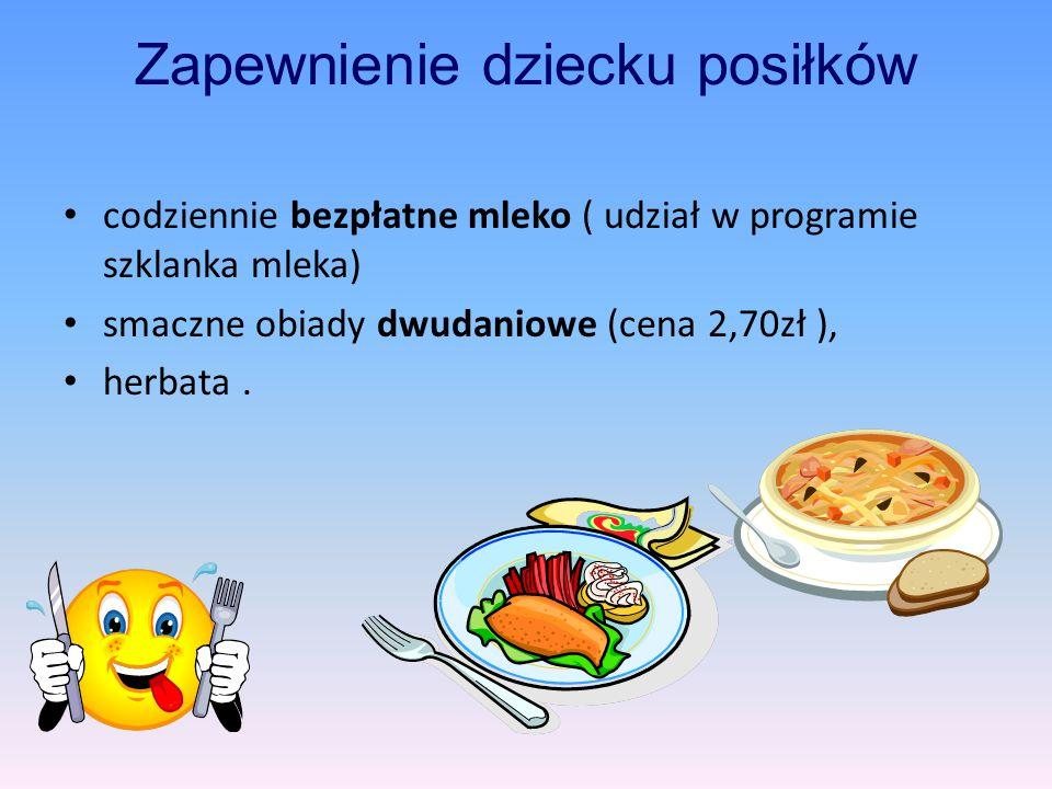 Zapewnienie dziecku posiłków codziennie bezpłatne mleko ( udział w programie szklanka mleka) smaczne obiady dwudaniowe (cena 2,70zł ), herbata.