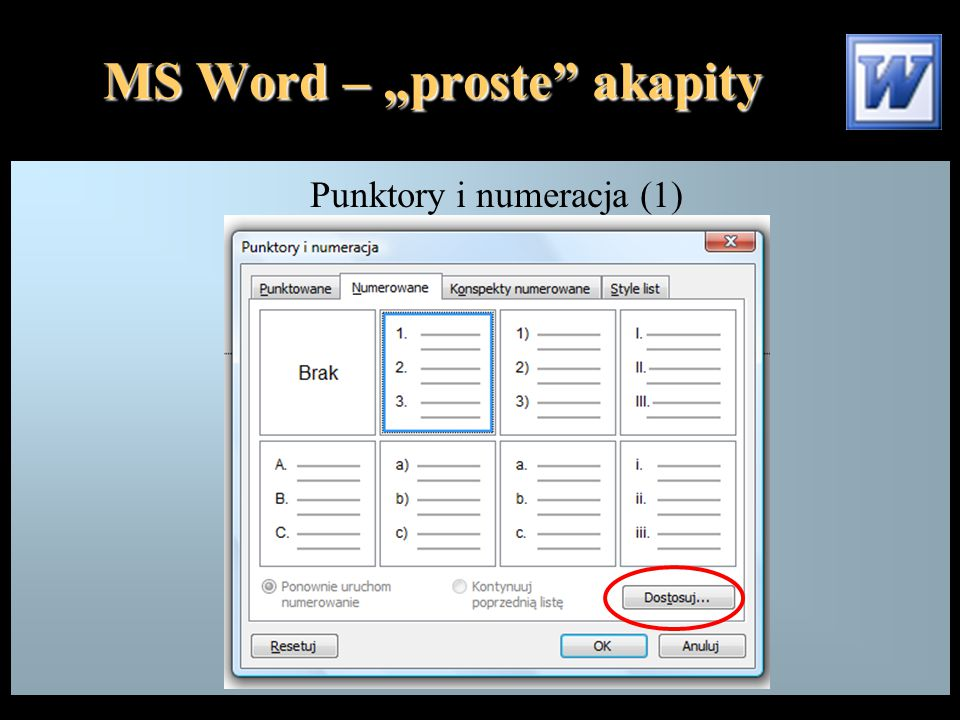 """MS Word – """"proste akapity Punktory i numeracja (1)"""
