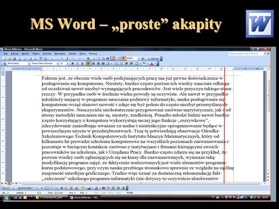 """MS Word – """"proste akapity"""