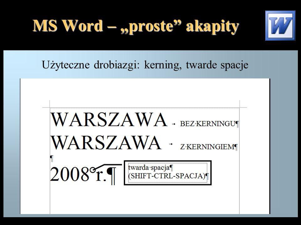 """MS Word – """"proste akapity Przycisk zmieniający rodzaj tabulacji"""