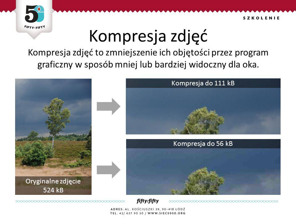 Kompresja zdjęć Kompresja zdjęć to zmniejszenie ich objętości przez program graficzny w sposób mniej lub bardziej widoczny dla oka.