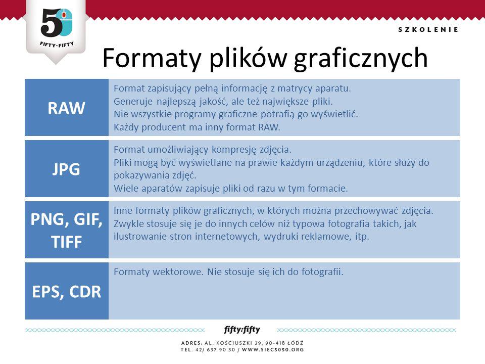 Formaty plików graficznych Format zapisujący pełną informację z matrycy aparatu.