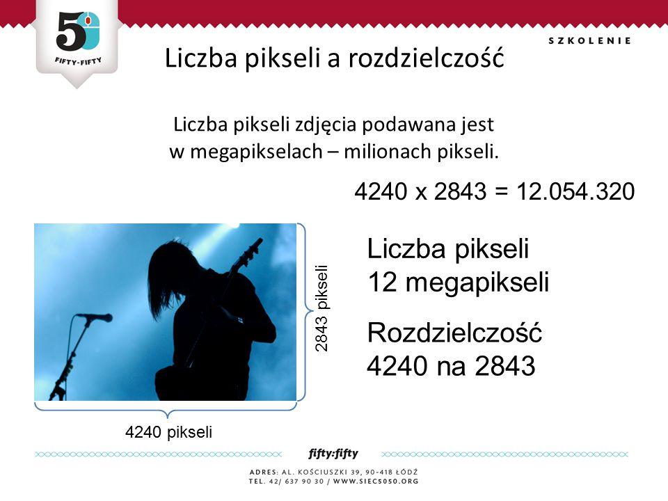 Liczba pikseli a rozdzielczość Liczba pikseli zdjęcia podawana jest w megapikselach – milionach pikseli.