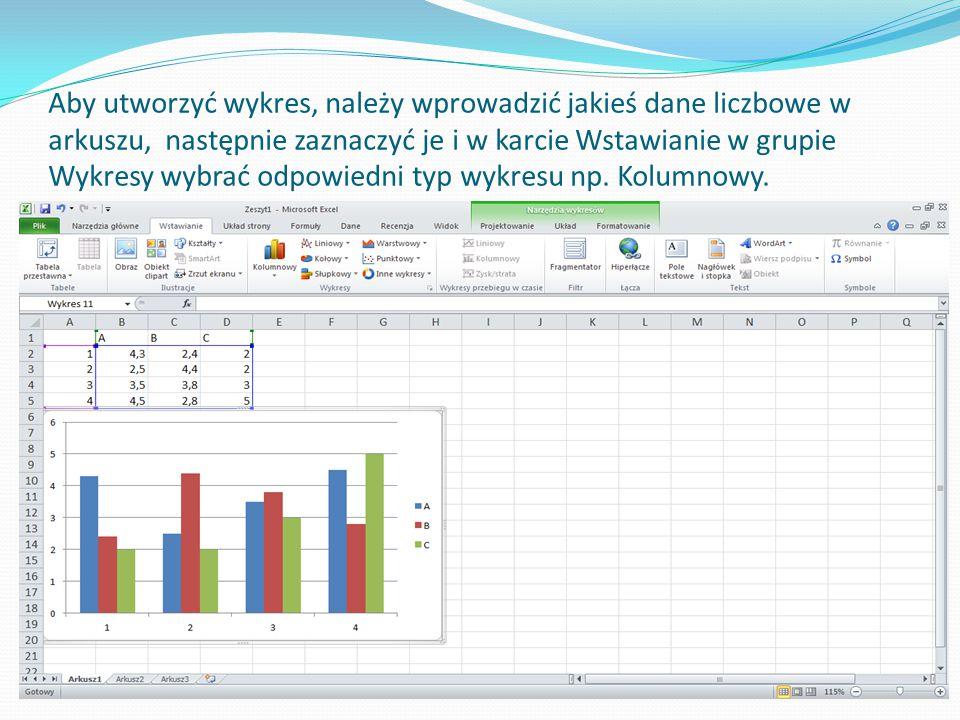Aby utworzyć wykres, należy wprowadzić jakieś dane liczbowe w arkuszu, następnie zaznaczyć je i w karcie Wstawianie w grupie Wykresy wybrać odpowiedni