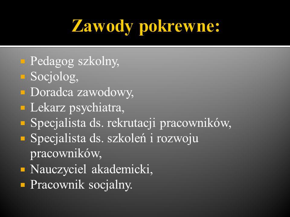  Pedagog szkolny,  Socjolog,  Doradca zawodowy,  Lekarz psychiatra,  Specjalista ds. rekrutacji pracowników,  Specjalista ds. szkoleń i rozwoju