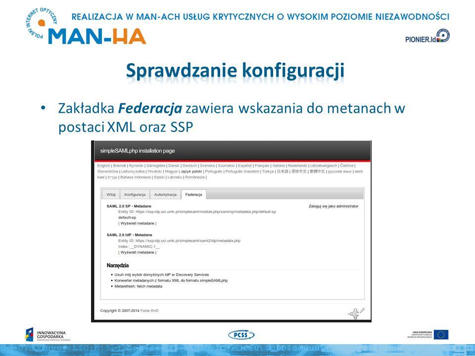 Zakładka Federacja zawiera wskazania do metanach w postaci XML oraz SSP