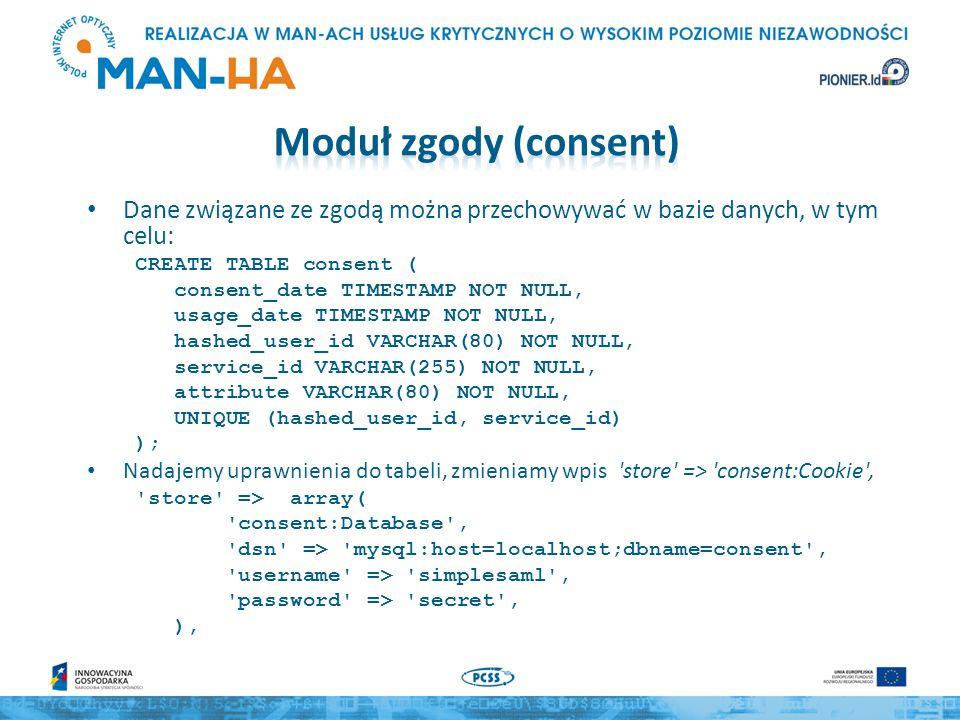 Dane związane ze zgodą można przechowywać w bazie danych, w tym celu: CREATE TABLE consent ( consent_date TIMESTAMP NOT NULL, usage_date TIMESTAMP NOT