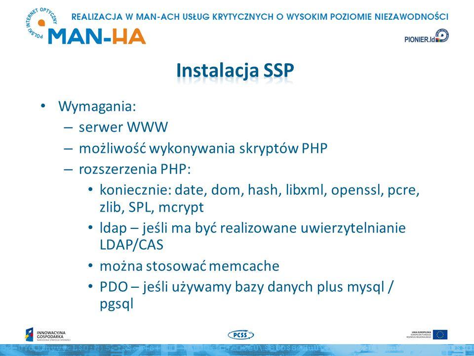 Aktualna wersja 1.13 Pobieramy ze strony https://simplesamlphp.org/download https://simplesamlphp.org/download Rozpakowujemy cd /opt/ tar xfv simplesamlphp-1.x.y.tar.gz