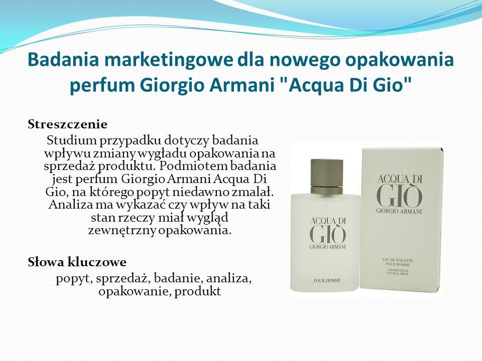 Badania marketingowe dla nowego opakowania perfum Giorgio Armani