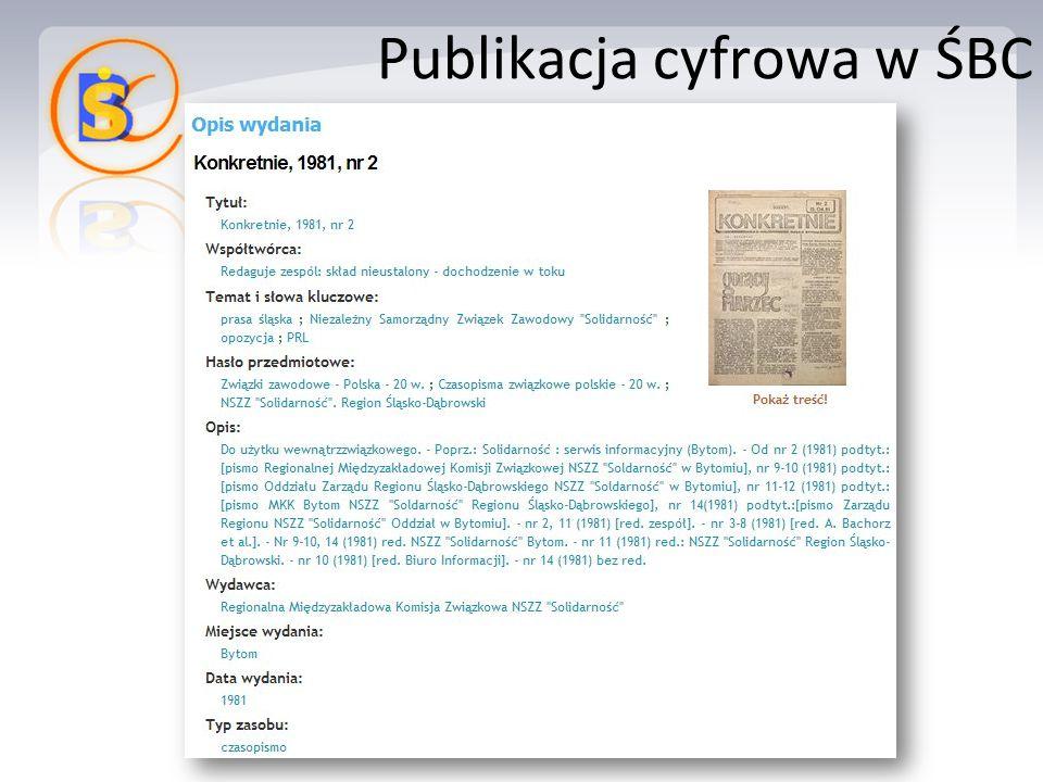 Publikacja cyfrowa w ŚBC
