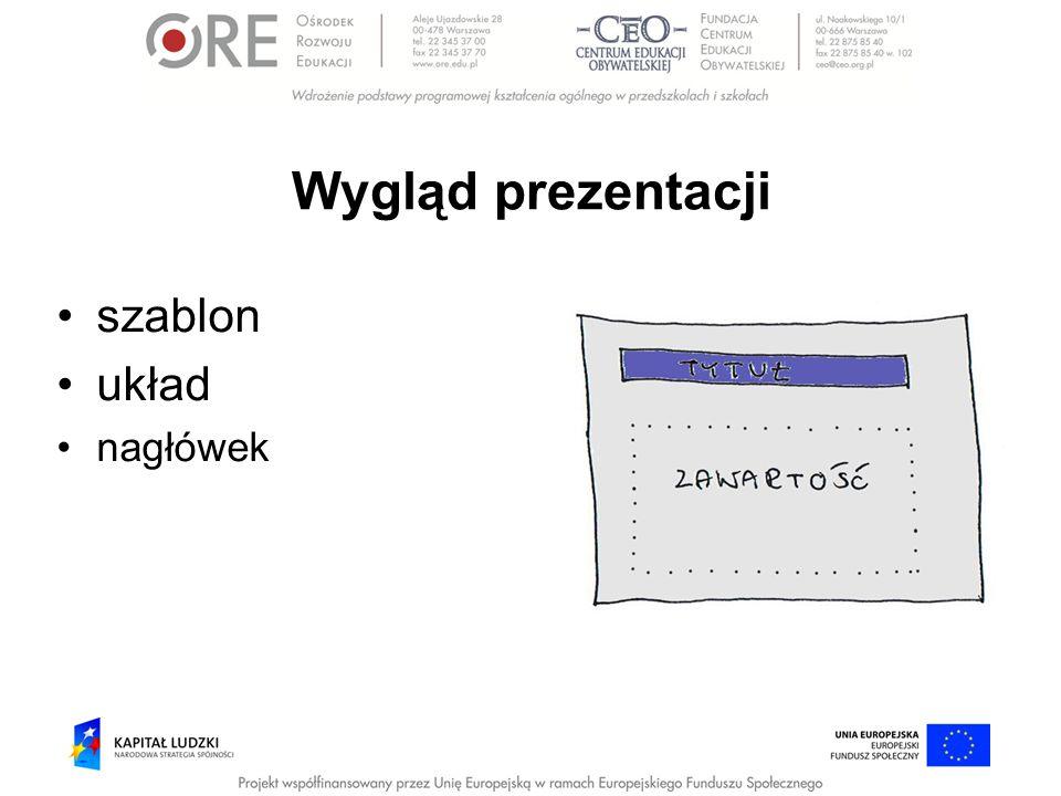 Wygląd prezentacji szablon układ nagłówek