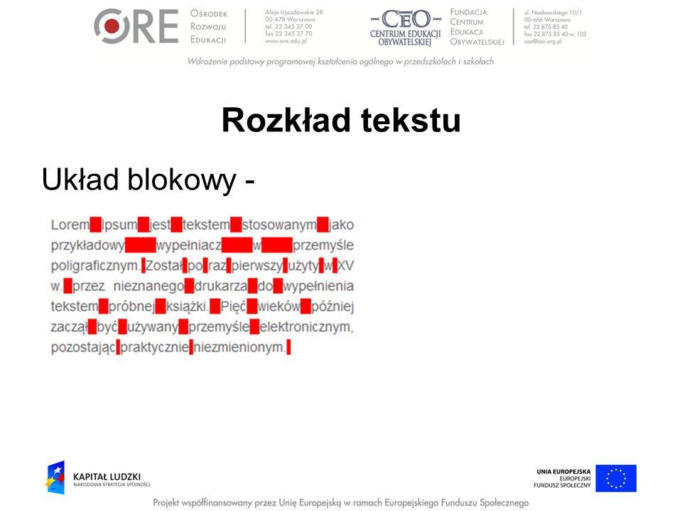 Rozkład tekstu Układ blokowy -