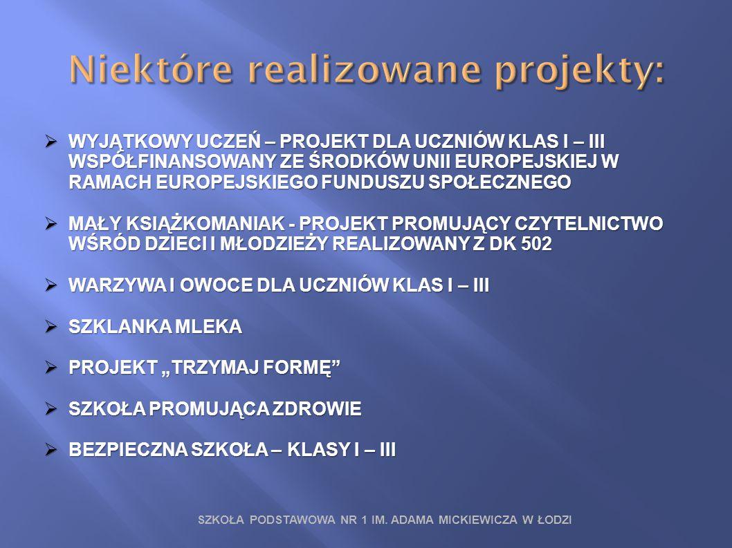 SZKOŁA PODSTAWOWA NR 1 IM. ADAMA MICKIEWICZA W ŁODZI  WYJĄTKOWY UCZEŃ – PROJEKT DLA UCZNIÓW KLAS I – III WSPÓŁFINANSOWANY ZE ŚRODKÓW UNII EUROPEJSKIE