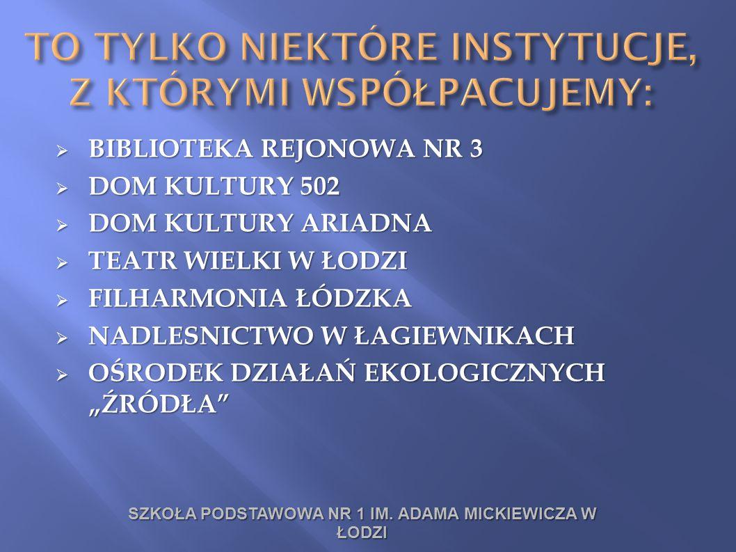 BIBLIOTEKA REJONOWA NR 3  DOM KULTURY 502  DOM KULTURY ARIADNA  TEATR WIELKI W ŁODZI  FILHARMONIA ŁÓDZKA  NADLESNICTWO W ŁAGIEWNIKACH  OŚRODEK