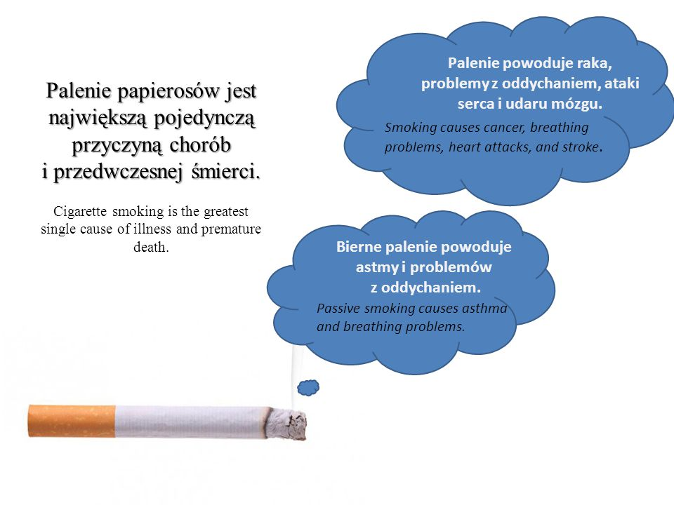 Smoking causes cancer, breathing problems, heart attacks, and stroke. Palenie powoduje raka, problemy z oddychaniem, ataki serca i udaru mózgu. Passiv