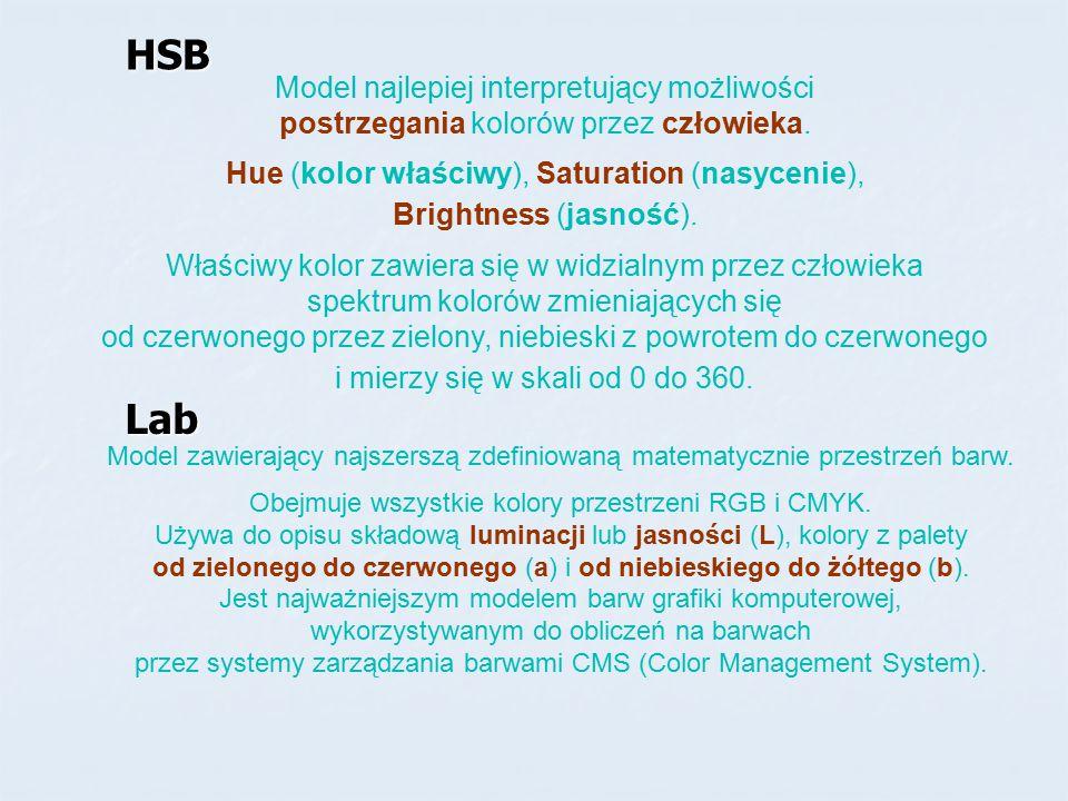 HSB Model najlepiej interpretujący możliwości postrzegania kolorów przez człowieka. Hue (kolor właściwy), Saturation (nasycenie), Brightness (jasność)