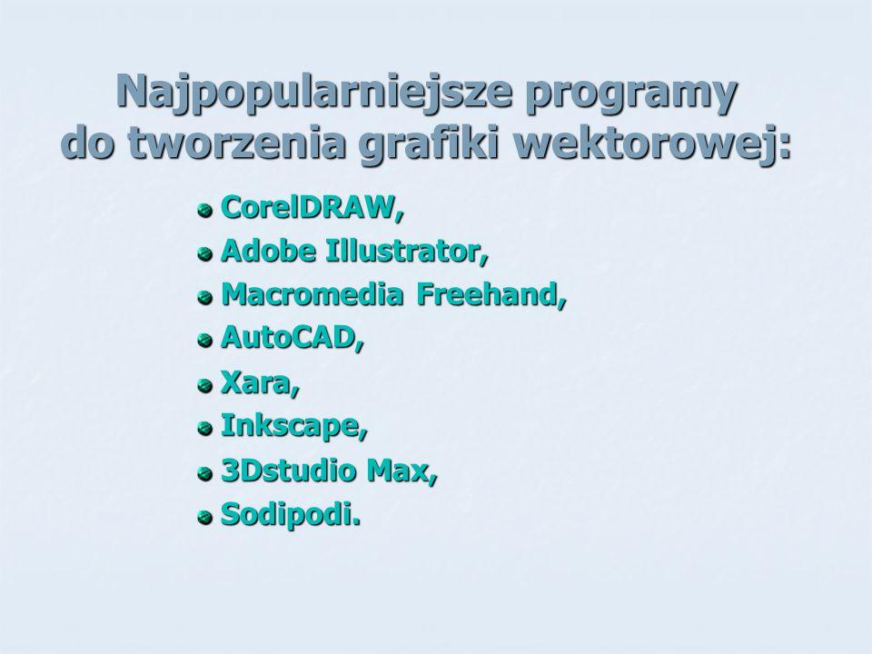 Najpopularniejsze programy do tworzenia grafiki wektorowej: CorelDRAW, CorelDRAW, Adobe Illustrator, Adobe Illustrator, Macromedia Freehand, Macromedi
