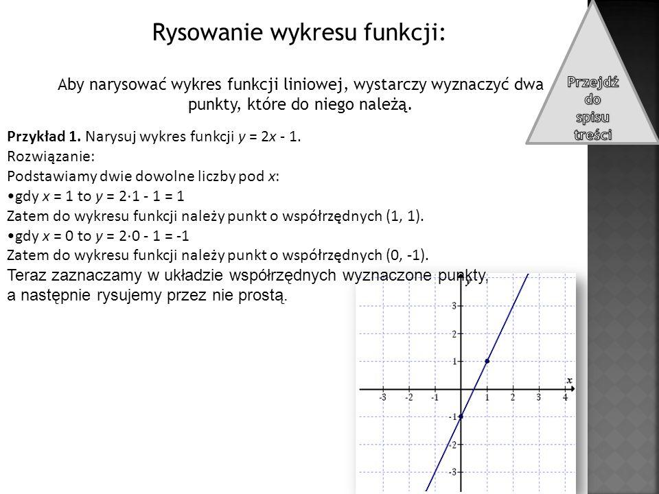 Rysowanie wykresu funkcji: Aby narysować wykres funkcji liniowej, wystarczy wyznaczyć dwa punkty, które do niego należą. Przykład 1. Narysuj wykres fu