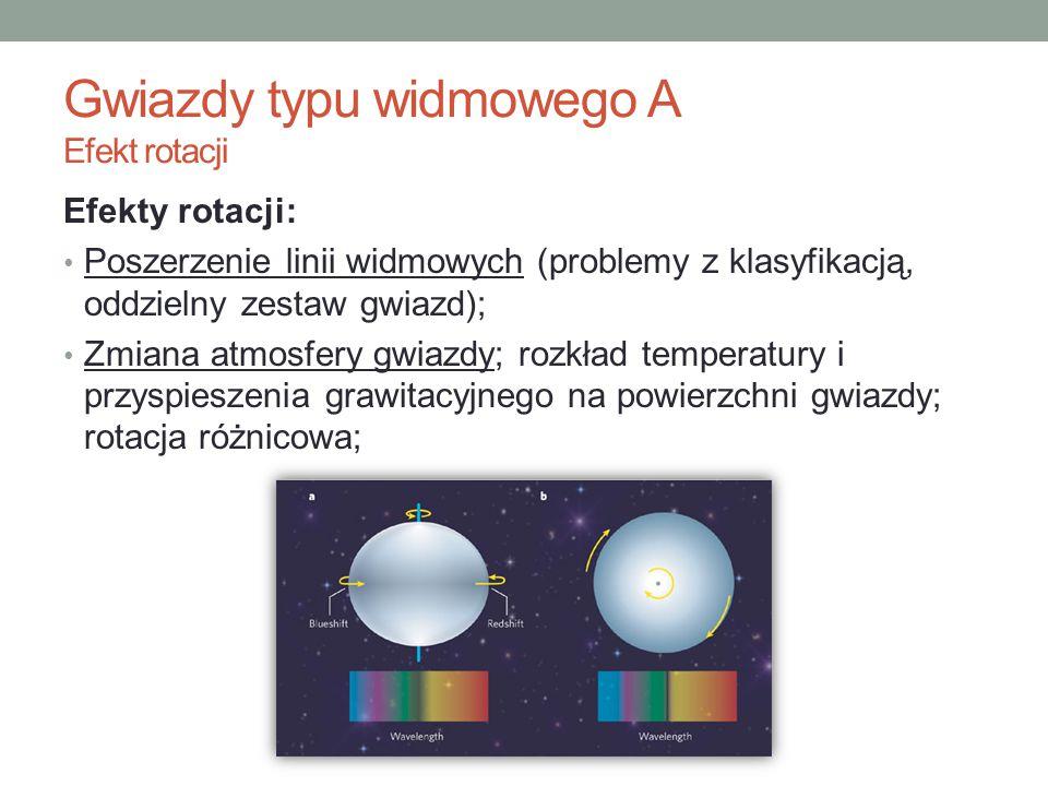 Efekty rotacji: Poszerzenie linii widmowych (problemy z klasyfikacją, oddzielny zestaw gwiazd); Zmiana atmosfery gwiazdy; rozkład temperatury i przysp