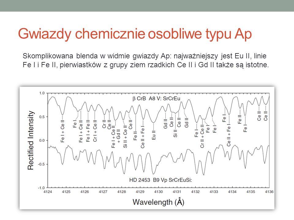 Skomplikowana blenda w widmie gwiazdy Ap: najważniejszy jest Eu II, linie Fe I i Fe II, pierwiastków z grupy ziem rzadkich Ce II i Gd II także są isto